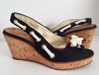 Sperry Top-Sider Black Southport Cork Wedge Rope Platform Slingback Sandal - 7.5