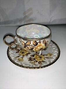 VINTAGE ROYAL SEALY 3 FOOTED TEA CUP WITH SAUCER CHINA MADE IN JAPAN