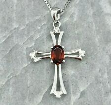"Garnet Diamond Cross, 14K White Gold, 16"" Chain"