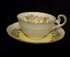 ROYAL GRAFTON Fine Bone China TEACUP & SAUCER Yellow design  Gold Rim ENGLAND