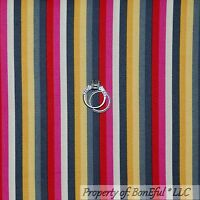 BonEful Fabric FQ Cotton Quilt Gray White Pink Red Gold Yellow Stripe Small Girl