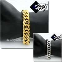 "7.5-11""MEN Stainless Steel WIDE16x5mm Silver/Gold Cuban Curb Link Chain Bracelet"