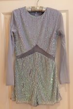 ASOS Blue Sequin Irridescent Long Sleeve Playsuit With Mesh Insert Size: 10