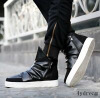 Mens Punk Lace up High top Ankle Boots Zipper Sneakers Casual Board Shoes Flats