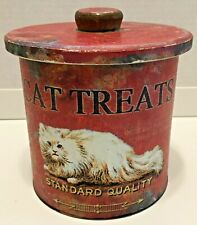 Creative Co-op Vintage Tin Cat Treat Container