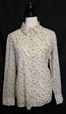 MONROE ~ Cream w Pink Purple Floral Cotton Western Shirt w Snaps Closures 22