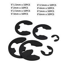 80pc M1.5,2,2.5~6 E-Clips Snap Ring Circlips Retaining Kit - Black Zinc Plated