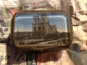 """Antique French Grand Tour Eglomise Beveled Glass Souvenir Casket, """"Notre-Dame"""""""