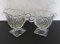 Indiana Glass Pretzel Pattern Open Footed Sugar Bowl and Creamer Clear Crystal