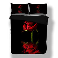 Rose Floral Bedding Duvet Cover Set Twin Full Queen King Pillowcase Red Black HD