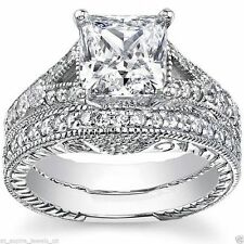 2.20ct Princess Diamond Engagement Matching Wedding Band Solid 14k White Gold