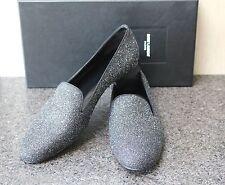 NIB YSL SAINT LAURENT PARIS SUGAR CHANGY BLK MOON GLITTER TUXEDO Flat Shoes 38.5