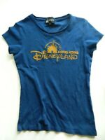 Womens Medium Hong Kong Disneyland Blue Short Sleeve Shirt Disney