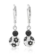 White Enamel and 925 Sterling Silver Sigal Earrings W/Genuine Crystal & Onyx in