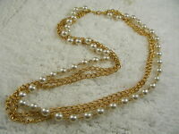 Goldtone Three Chain Bead Necklace (A11)
