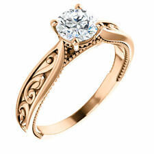 Semi Mount Setting Sculptural Vintag Rose Gold Engagement Ring for Round Stone