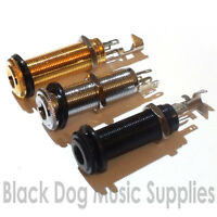 Stereo or mono electric or acoustic guitar jack socket in chrome black or gold