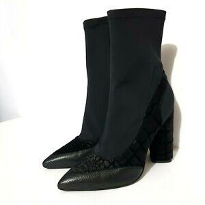 Camilla & Marc Boots Sz 36 Black Zoey Stretch Neoprene Crocodile Embossed Heels