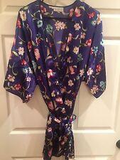 Vassarette Satin Robe Dressing Gown Hawaiian Floral Blue Womens Sz M/L Femme