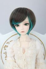 "BJD Doll Hair Wig 7-8"" 1/4 SD DZ DOD LUTS Black Green Short Straight"