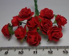 Red Paper Roses Dolls House Miniature x 10