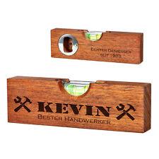 Mini Holz Wasserwaage mit Flaschenöffner 2 Seitige Gravur Handwerker