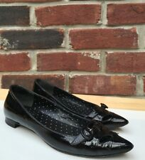 Moschino Cheap & Chic Black Patent Leather Cutout Buckle Flats 36 6 Italy RARE!