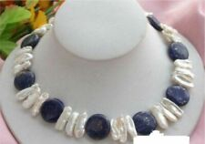 white biwa pearl necklace 18'' Aaa Nature New 14mm Blue coin lapis Lazuli