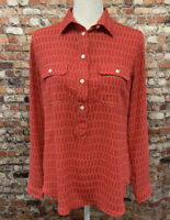 Ann Taylor LOFT Women's Size S Red Button Front Long Sleeve Shirt Blouse #8C50