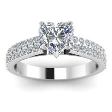 1.50Ct Heart Shaped Diamond Solitaire Engagement Ring With 14K White Gold