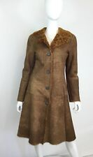 D & G Brown Suede Shearling Coat Size XS