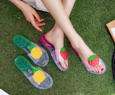 Women Home Fruit Transparent Slippers Sandals Casual Indoor Flat Flip Flops