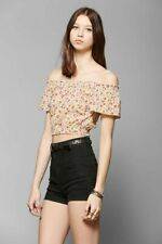 Kimchi Blue Urban Outfitters Floral Printed Crop Top Off Shoulder L New 181264