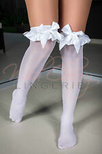 Sweet White Stockings with Ruffles and Bows One Size Erotic Hosiery