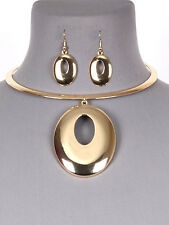 Gold Tone Statement Circle Choker Women Fashion Jewelry Necklace Earring Set