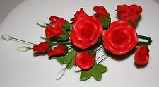 Tea Rose SPRAY, FIORI di zucchero, cake topper, gum paste, Red Medium, Natale