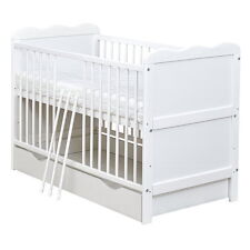 Babybett Gitterbett Kinderbett Juniorbett weiß 140x70 mit Schublade, Matratze