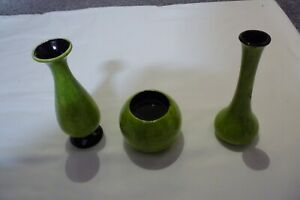 set of 3 lime green decorative pottery pieces vase candle holder handmade