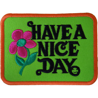 HAVE A NICE DAY Patch Iron Sew On 60s Hippie Flower Embroidered Badge Embroidery