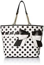 Betsey Johnson Gift Me Baby Polka-Dot Tote Bag Cream/Black NEW NWT!