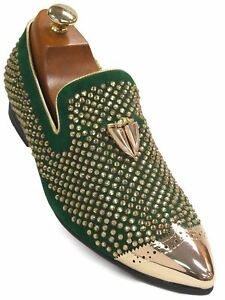 Fiesso Men Green Suede Gold Bling Rhinestone Metal Toe SlipOn Loafer Party Shoe