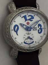 NEW Authentic Michele CSX Blue Mini Diamond SS Watch MW03F01 On a Black Strap