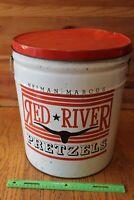 Neiman Marcus Red River Pretzels XL Tin Drum Can Vintage Bucket Advertising