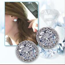 Wedding Formal Cubic Zirconia Solitaire 925 Sterling Silver Plated Stud Earrings
