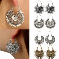 Vintage Boho Women Gold Silver Plated Hollow Flower Drop Dangle Hook Earrings