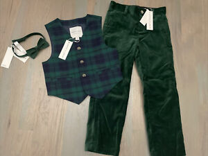 NWT Janie and Jack boy WINTER HOLIDAY 2/3-piece green plaid vest velvet SET 5