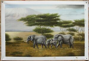 """Quality art oil painting on canvas the African elephant 100% handmade 24""""x36"""""""