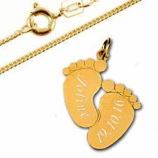 Silberpoint, Anhänger Babyfüße-Echt Gold 333/000(8 Karat)-persönliche Gravur- 02