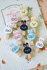 Cute Rabbits Wooden Pegs 10pc mix bunny wood clips scrapbooking craft packaging