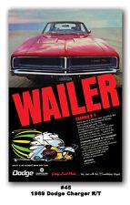 24x36 1969 DODGE CHARGER R/T MOPAR ART AD POSTER 383 440 MAGNUM 426 HEMI WAILER